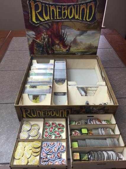 Includes a removable dual layer token box with lid to organize all the tokens. There is room on top of the organizer to store the game board and rulebook.